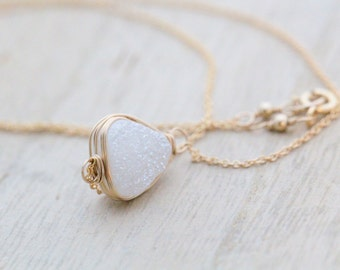Druzy Triangle Necklace, White Bezel Wrapped Geometric Necklace in Gold, Rose Gold, Sterling Silver - Sugarcane