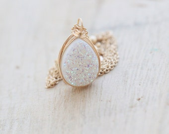 Druzy Teardrop Necklace, Opal White Bezel Wrapped Quartz , Gold , Rose Gold, Sterling Silver - Confetti Cream ( As Seen on Law & Order SVU )