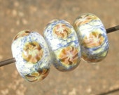 Lampwork Boro Focal bead set - Snow Anemone