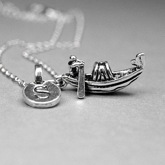gondola necklace italian gondola charm row boat antiqued