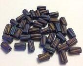 Czech Glass Beads Matte Black Iris Twisted Tube 6x12mm 39pcs