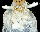Handmade stuffed Angel bear lace dress & wings Vintage 1980s like new beautiful toy