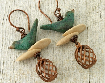 Bird Earrings Bird Jewelry Bird Jewellery Bird Cage Jewelry Bird Cage Earrings Copper Bird Earring Ceramic Bird Earring Rustic Bird Earrings