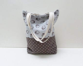 Tote bag - Light blue and brown owl fabric