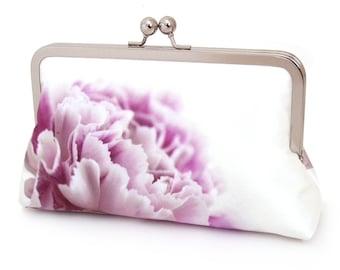 Clutch bag, silk purse, pink petals, wedding purse, flower clutch, bridesmaid gift, PINK CARNATION