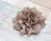 Taupe Flower Hair Clip - Lotus Blossom - With or Without Rhinestone Center
