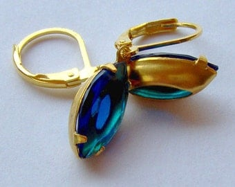 Capri Blue Rhinestone Earrings / navette