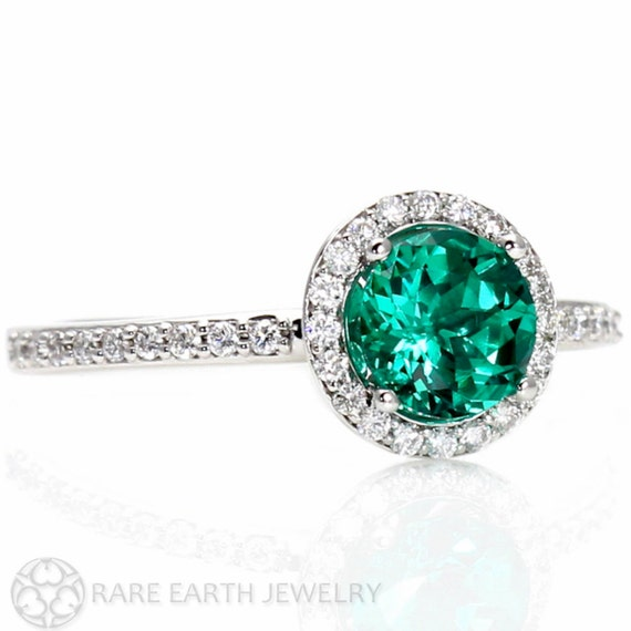 Emerald Ring Emerald Engagement Ring 14K Diamond Halo Emerald Ring May Births