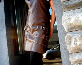 Stylist's Leather Apron with tool loops and pockets, brass buckles, cross straps