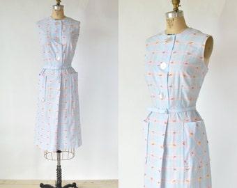 1950s Sleeveless Day Dress --- Vintage Plaid Gingham Dress
