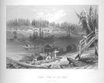 LES CHATS Timber Lumber Mill FERRY 1840s Canadian Genuine Vintage Steel Plate Engraving Antique Art Print of the 1800s [inv# Canada 61
