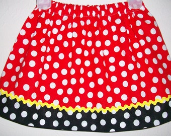 Minnie Skirt Girls Skirt Minnie Mouse Dots Minnie Party Red and Black toddler girls Minnie dress Kids Clothes Minnie Clothes Minnie Inspired