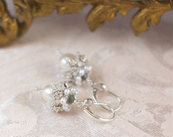 "Ivory Freshwater Pearl Drop Earrings / Silver Wedding Dangle Earrings / Handmade Lace ""Elspeth"""