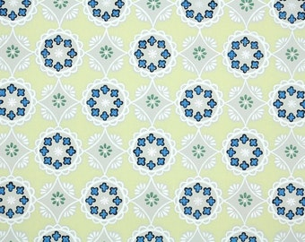 1940s Vintage Wallpaper by the Yard - Blue and Yellow Geometric