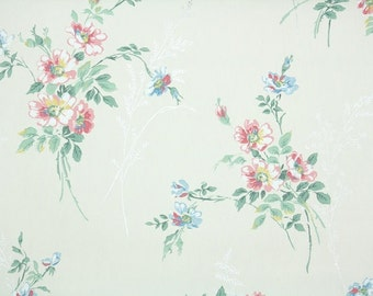 1940s Vintage Wallpaper by the Yard - Floral Wallpaper with Pink and Blue Flowers on White