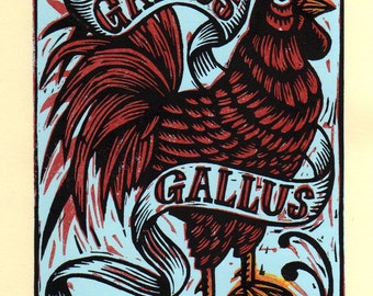 Rooster Linocut Art Print, Linocut Print Rooster,  Hand Carved Linocut Print, Wall Art, Country Home Decor, Farm Decor, Rustic Home Decor