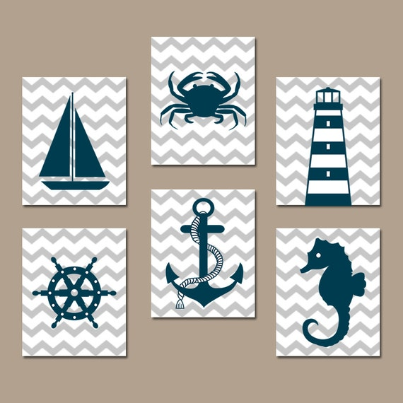Nautical Bathroom Wall Decor : Coastal nautical wall art baby boy nursery artwork