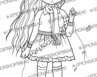 Digital Stamp Stringing Autumn Leaves Girl, Digi Download, Fall Nature, Fashion Anime, Coloring Page, Clip Art, Scrapbooking Supplies