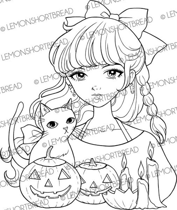 halloween cat girl coloring pages - photo#40