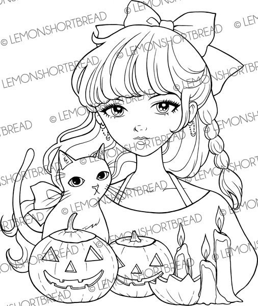 halloween cat girl coloring pages - photo#43