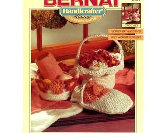 Flower Bath Accessories Crochet Pattern - Bernat Handicrafter 1282 - Bath Mitt / Toilet Roll Cover