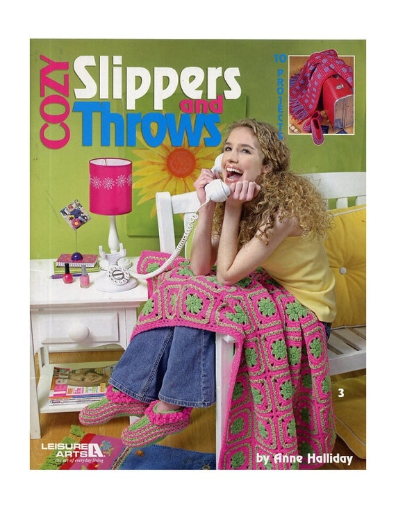 Cozy Slippers and Throws - Crochet Pattern - Anne Halliday - 10 Projects - Leisure Arts 3846