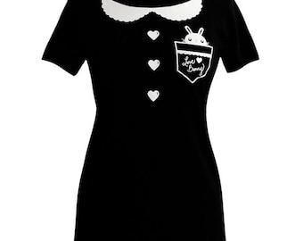 Peter Pan Collar Shirt - Bunny Rabbit Pocket Tee Shirt - (Available in Ladies sizes S, M, L, XL)