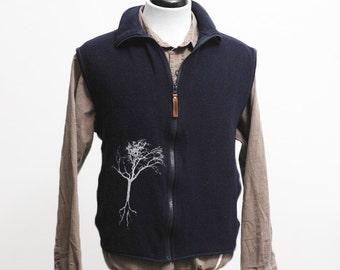 Men's Fleece Vest / Super Warm Woolrich Sweater Vest / Screen Printed Tree / Size XL