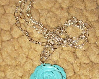 Turquoise Howlite Rose Necklace