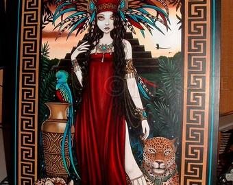 SALE - Zyanya - Original Painting - Quetzal Bird - Toltec Art - Jaguar - Tribal Priestess - Mesoamerican - Fantasy Art