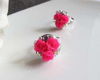 Hime Princess Rose Ring. Trio Fuschia Pink Roses, Swarovski Crystals Ring. Nature Garden Flower Ring Bridal Wedding Jewelry Bridesmaid Gift