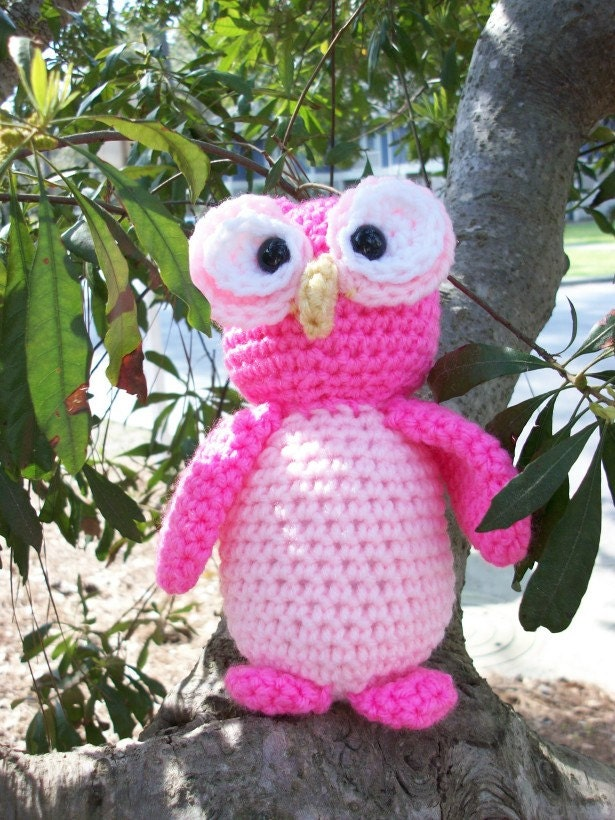 Amigurumi Owl Beak : Petunia the Pink Owl A Plush Stuffed by CoastalCrochetCrafts