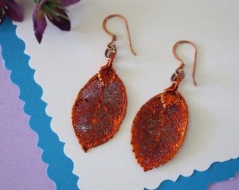 Rose Leaf Earrings Copper, Small Rose Leaf Earrings, Copper Leaf, Rose Bush, Rose Leaves, LESM45