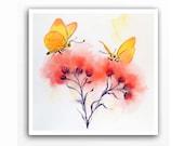 Butterfly Art  Print  - Zen art / Monarch butterflies / flowers / Butterfly wall art / Watercolor butterfly / Floral decor /10 x 10