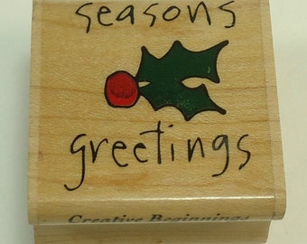 Season's Greetings Holly Christmas Wood Mounted Rubber Stamp By Creative Beginnings Holiday