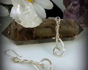 Sterling Silver Wire Wrapped Swirl Earrings