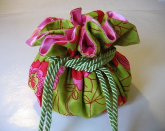 Drawstring Jewelry Bag Jewelry pouch Hot Pink Lime Green Floral
