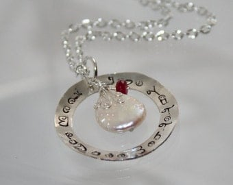 Love You To The Moon Necklace with Pearl & Ruby