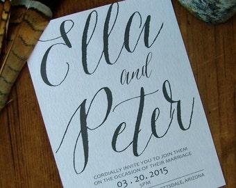 hand written wedding invitations, large hand written calligraphy wedding invitations