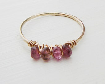 14kt Gold Filled Pink Tourmaline Ring, stacking thin skinny stacker bridesmaid bridal party