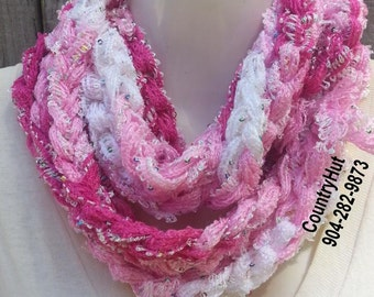 Cotton Candy - Infinity Scarf Cowl -  Frilly Crocheted rope Neck warmer - Pretty tones of Pink + White - Breast Cancer Awareness October