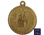 Raw Brass St Christopher Charm Drop with Loop (1) chr190JJ
