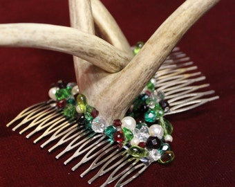 Yule Antlers - Antler combs with festive beading.  - To Order