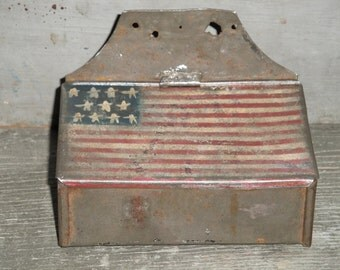 American Flag Hand Painted SMALL Vintage Tin Box With Hinged Lid