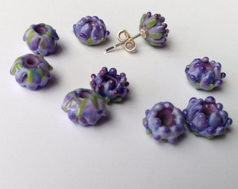 Lavender Glass Bead Whorl of Buds Double Layered and Tri-Colored
