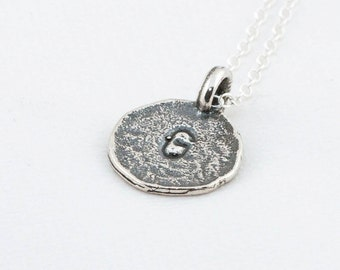 Initial G Handstamped Sterling Silver Pendant and Necklace - with Gift Box