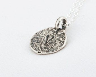 Initial V Handstamped Sterling Silver Pendant and Necklace - with Gift Box