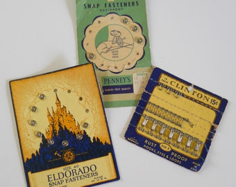 Vintage Snaps and Hooks • Clinton, Eldorado and Panny's • Original Cards