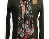 Mens Silk Scarf Hand Painted. Haida Totam Pole Scarf Design of Bears. Batik Handmade. Scarf Painted on Charmeuse Silk. 21 in x 72 in.