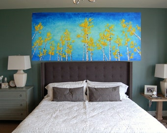 SALE Yellow Morning Birch Trees BIG Original Oil Painting